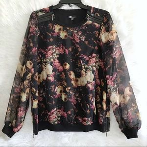 Kut from the Kloth floral sheer shirt size small.